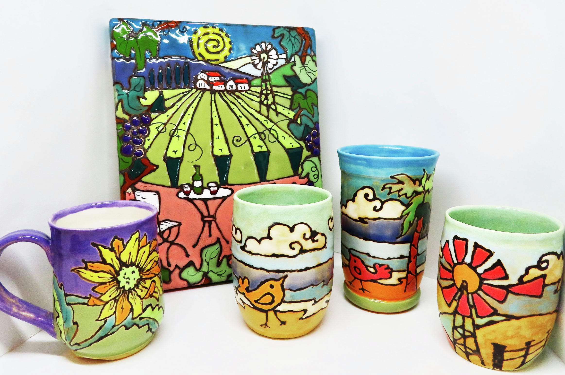 "Local artists are launching Art DeTour in June, a driving tour of their studios. Their work will feature a range of media, including this pottery set, ""The American Roadtrip"" series by Melissa Werpy. (Contributed)"