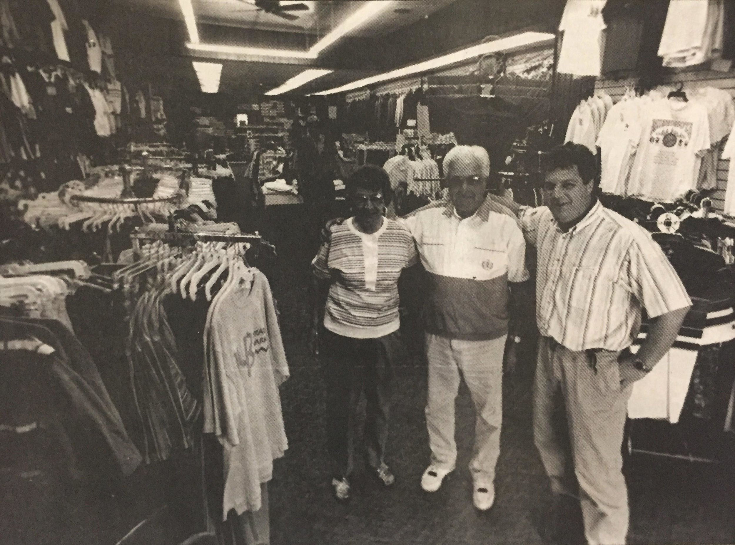 Hilde and Gardy Richter stand by Steve in 1994 for the store's 25th anniversary. Richter's Men's Wear is now celebrating 50 years. (Chuck Johnson)