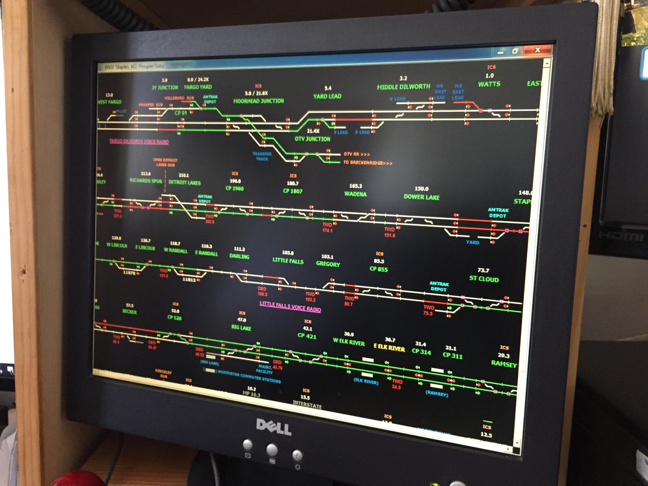 Through this ATSC monitor, Rich Luth is able to track every train between Fargo and the Twin Cities. (Carter Jones/ FOCUS)