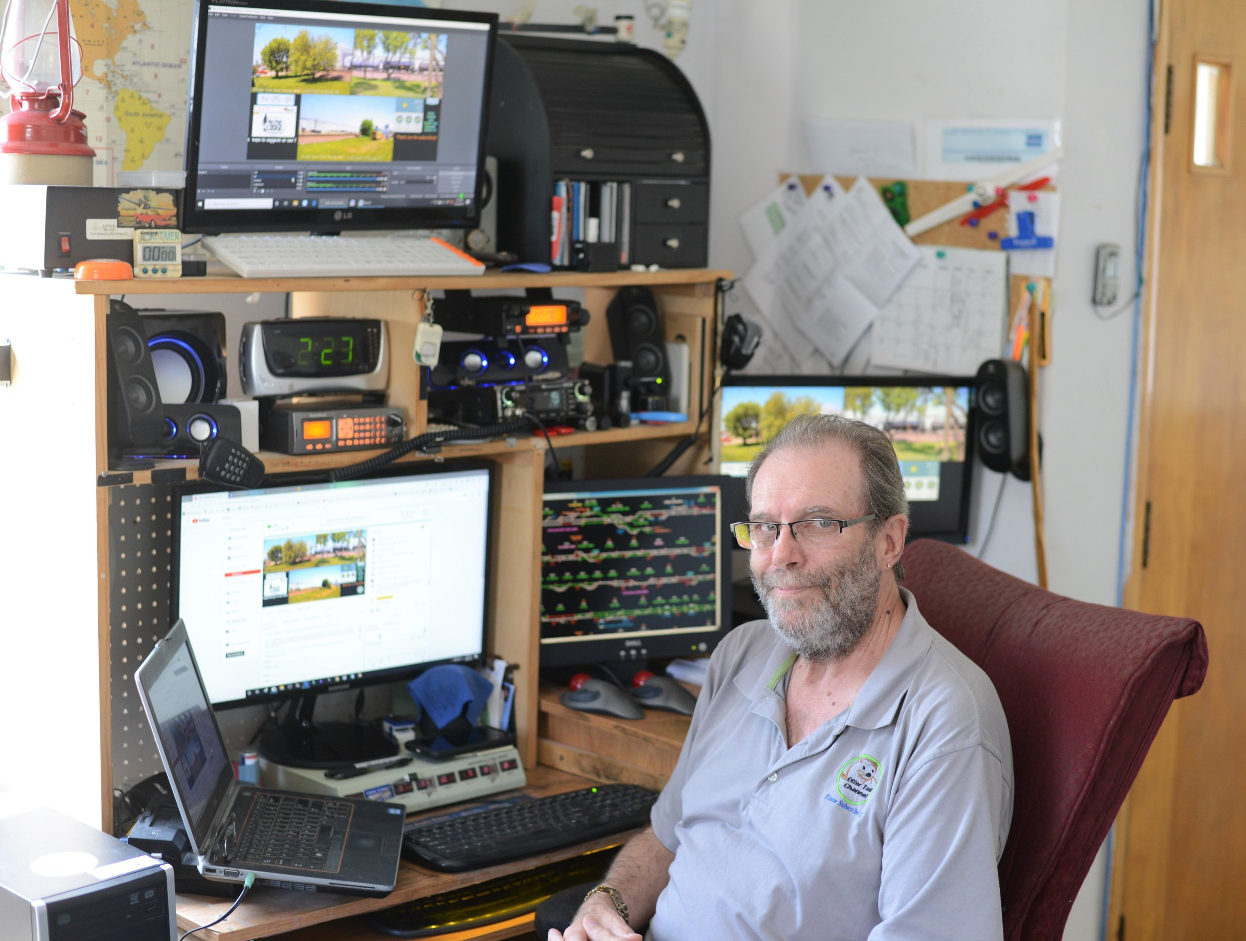 Rich Lee runs Otter Tail Channel out of his home on Main Street. Three cameras capture all of the trains going in and out of Perham for viewers across the world to watch. (Carter Jones/ FOCUS)