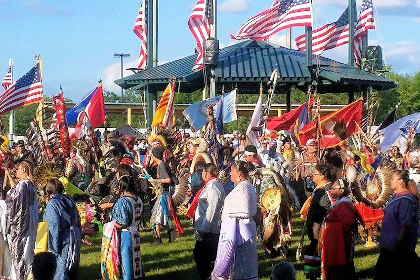 The 151st annual White Earth June Pow Wow gets underway this Friday, June 14 and continues through Sunday, June 16. More than 1,000 dancers and drummers are expected to take part in the Grand Entry (pictured), which is the pow wow's signature event. (File photo)