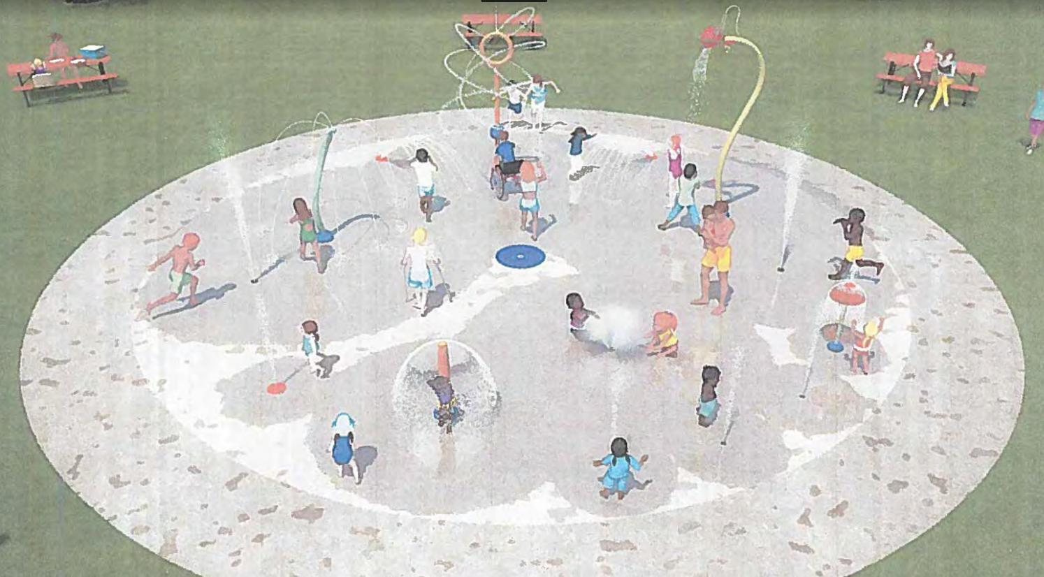 An artist rendering of the planned splash park to be installed near the wading pool in southwest Wadena. Illustration courtesy of Vortex International
