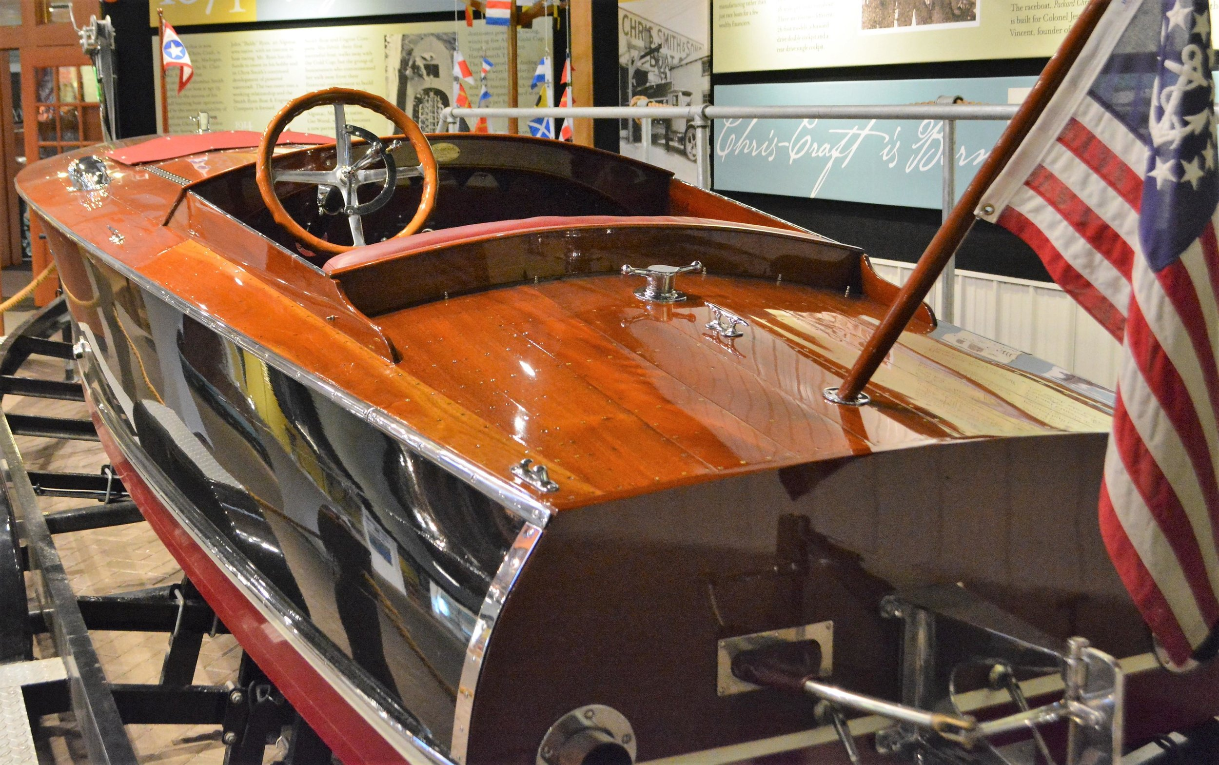 One of three new additions to the museum's speedboat collection, this 1926 Hacker Craft did a lot of racing in its time. (Ross Evavold / Echo Press)