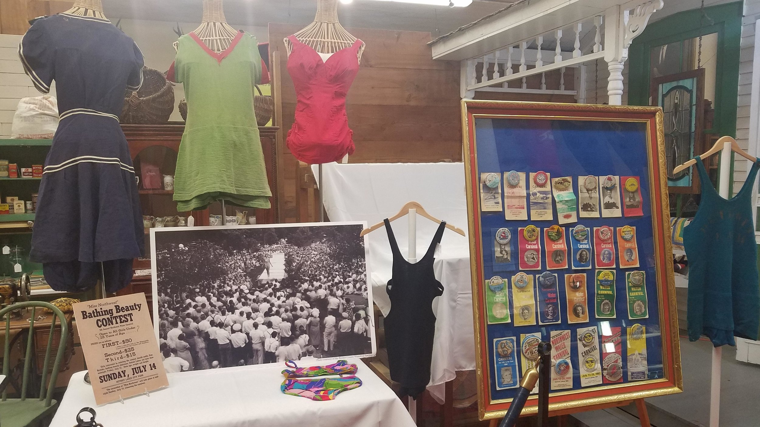 The Becker County Museum's Northwest Water Carnival history exhibit includes a wide range of memorabilia from the carnival's 84-year history, such as this collection of swimsuits from the early 1900s all the way up to a modern bikini. (Vicki Gerdes / Tribune)