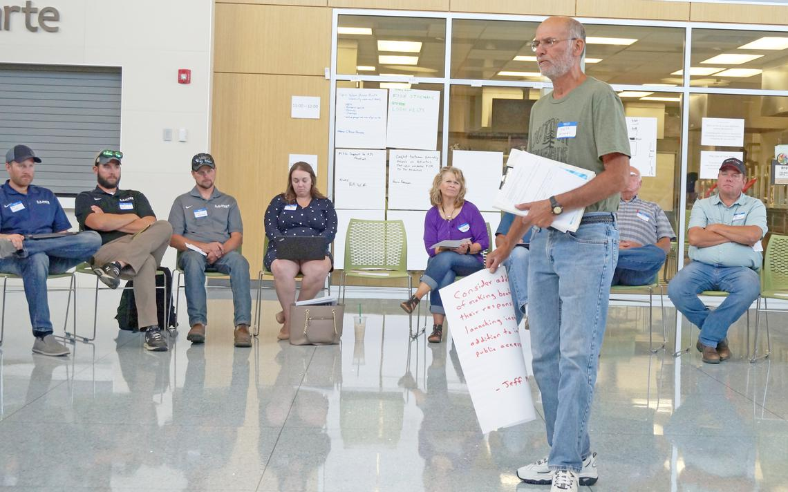 Jeff Mosner, a Hubbard County Coalition of Lake Associations member and veteran access inspector, shares his ideas for better use of funding for AIS prevention at a DNR meeting. Gary Korsgaden/For the Enterprise
