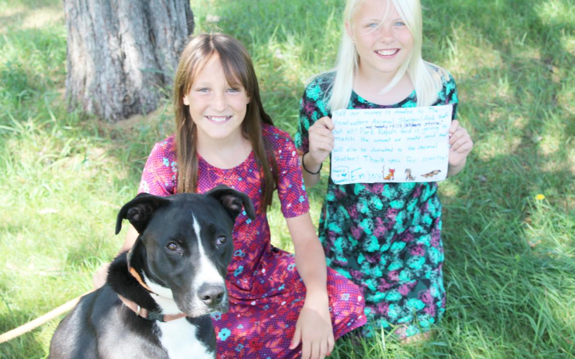 Kennedy Campbell and Macey Jalbert raised $300 to help the Headwaters Animal Shelter in Park Rapids through a lemonade stands and matching funds from two area businesses. They are pictured with Remi, who has an adoption pending, but many other dogs and cats are waiting for forever homes. Lorie Skarpness/Enterprise