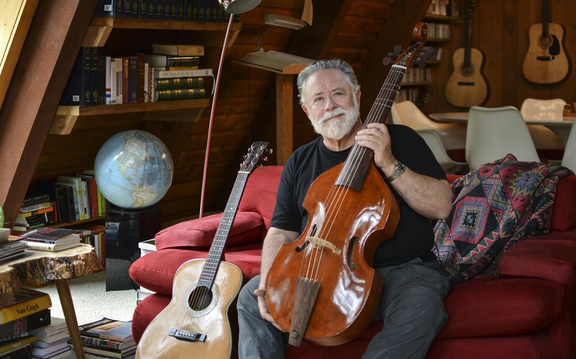 The first musical instrument Patrick Riley built was this viola da gamba. He also has built three guitars. (Annalise Braught | Bemidji Pioneer)