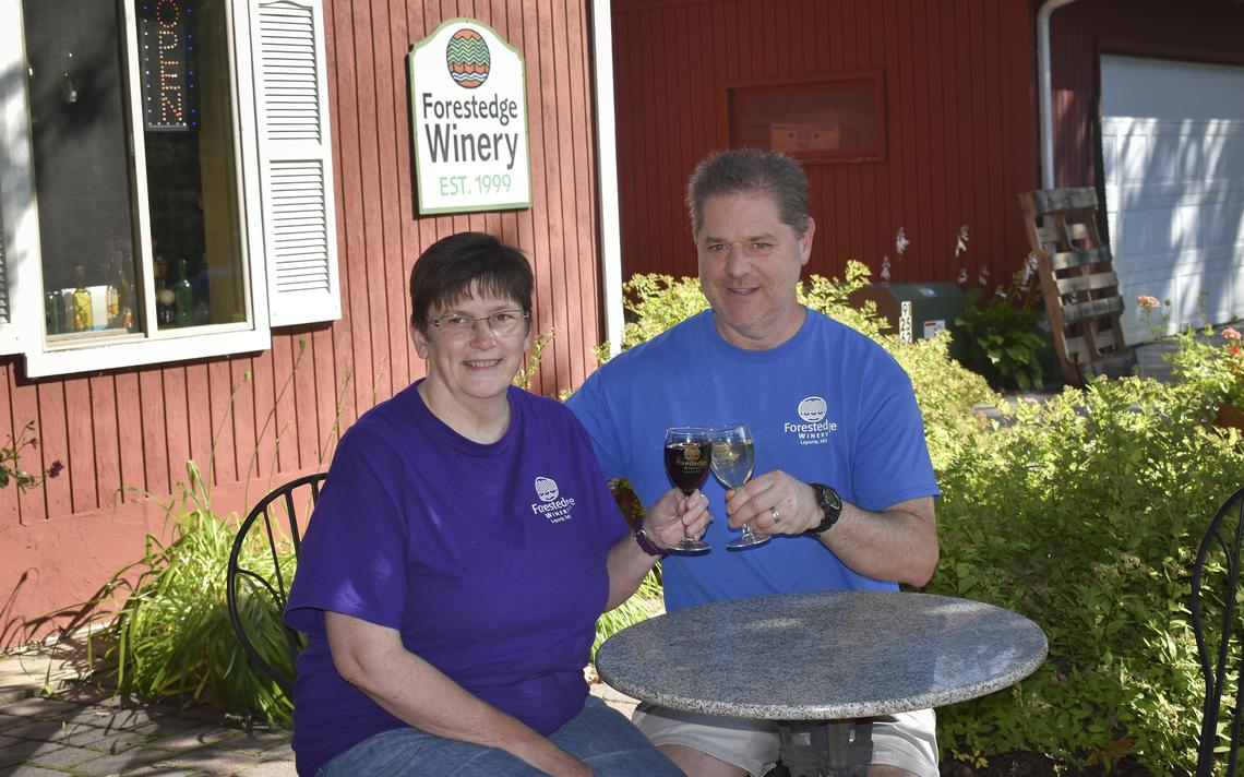 Steve and Kristin Twait live beside their winery and say they're thankful for a shorter commute to work now since leaving the Twin Cities. (Bria Barton | Bemidji Pioneer)