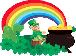 Irish Leprechaun's Pot-O-Gold at the end of the Rainbow.