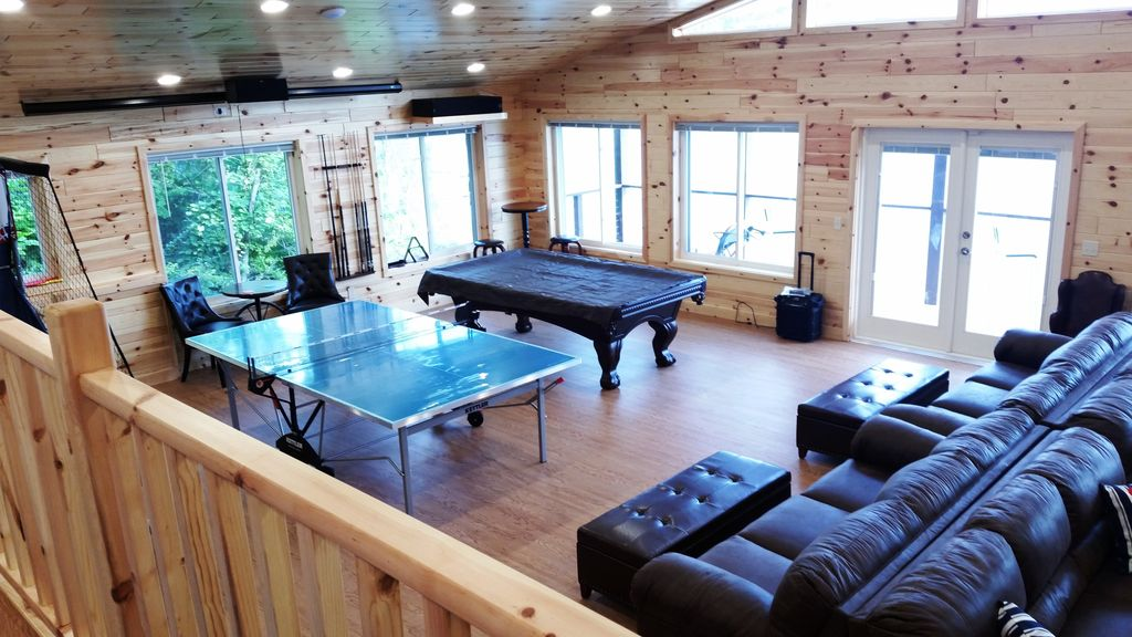 Gathering-Game Rm is 885 sq ft has ping pong & pool tables. Walk out to deck.
