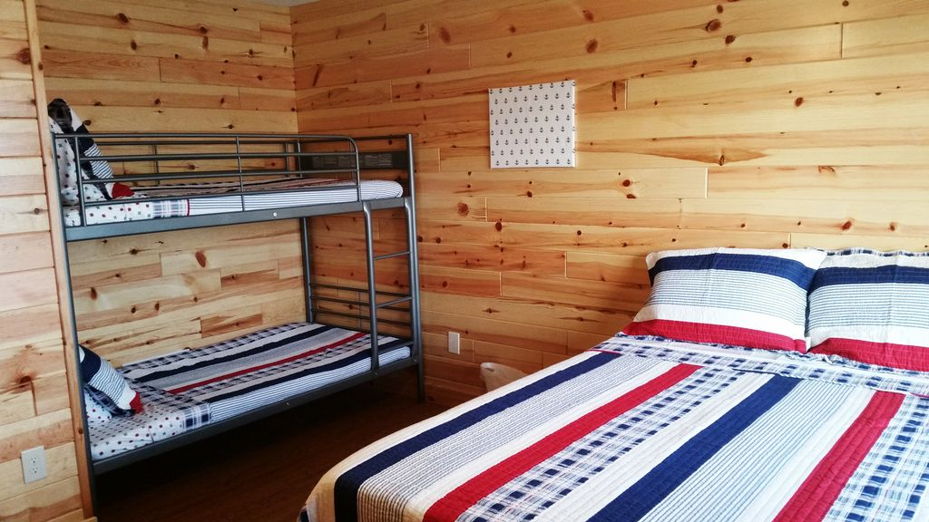 Here's another view of one of the 3 BR-BA suites with both Queen bed and Twin Bunkbed.