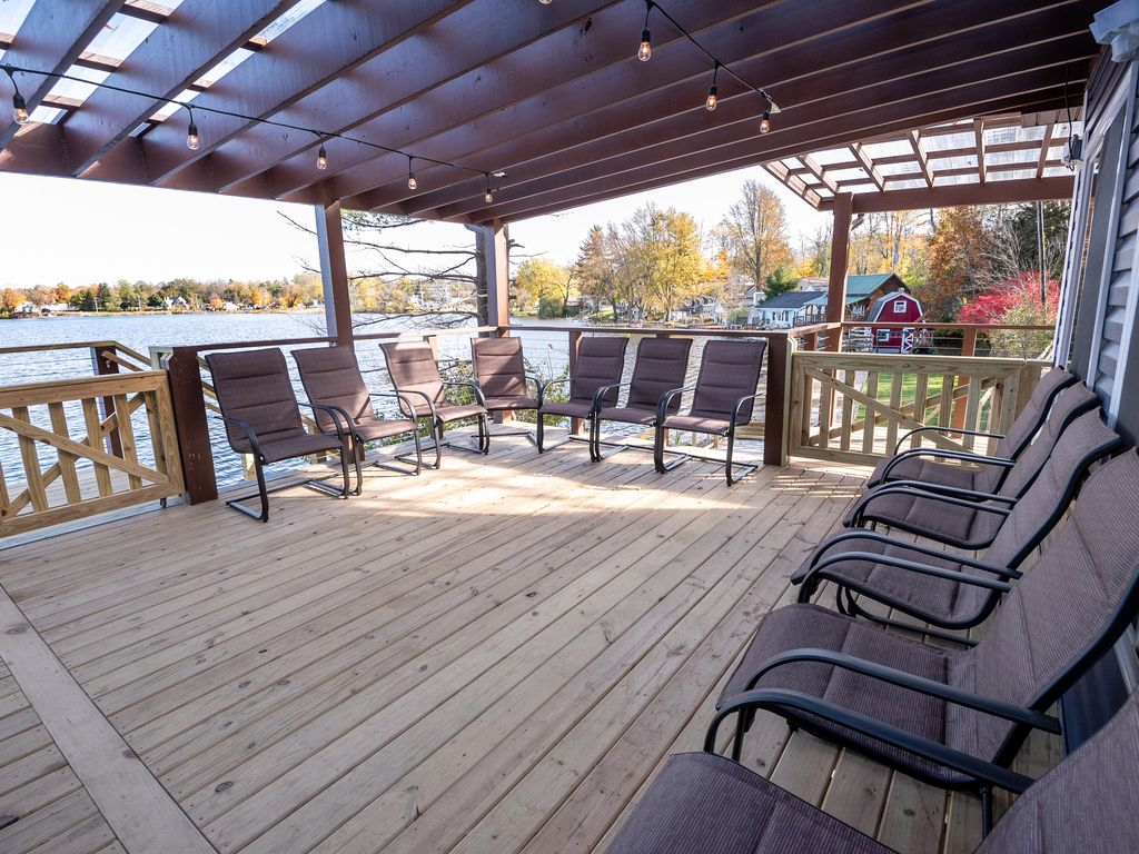 Gates keep little ones safe on the 101-foot long, 1,000+ sq ft covered deck.