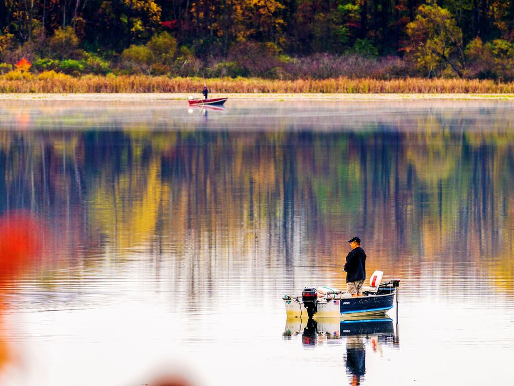 Stone Lake is a quiet fishing and swimming lake - most shoreline is undeveloped.