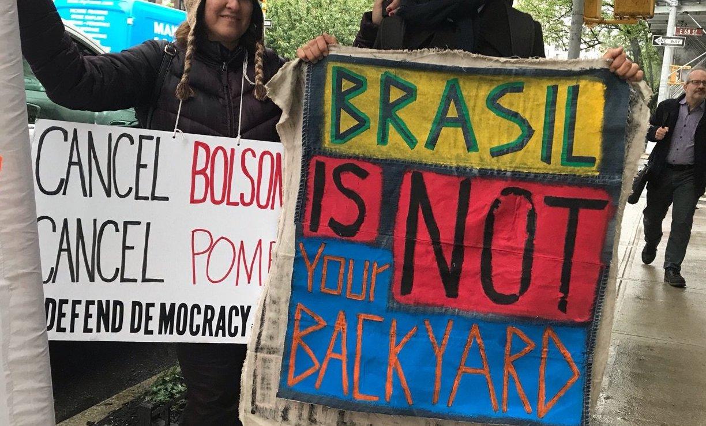 At Americas Society on May 13, 12PM: #CancelBolsonaro Coalition, photo: George De Castro-Day / Defend Democracy in Brazil - NY