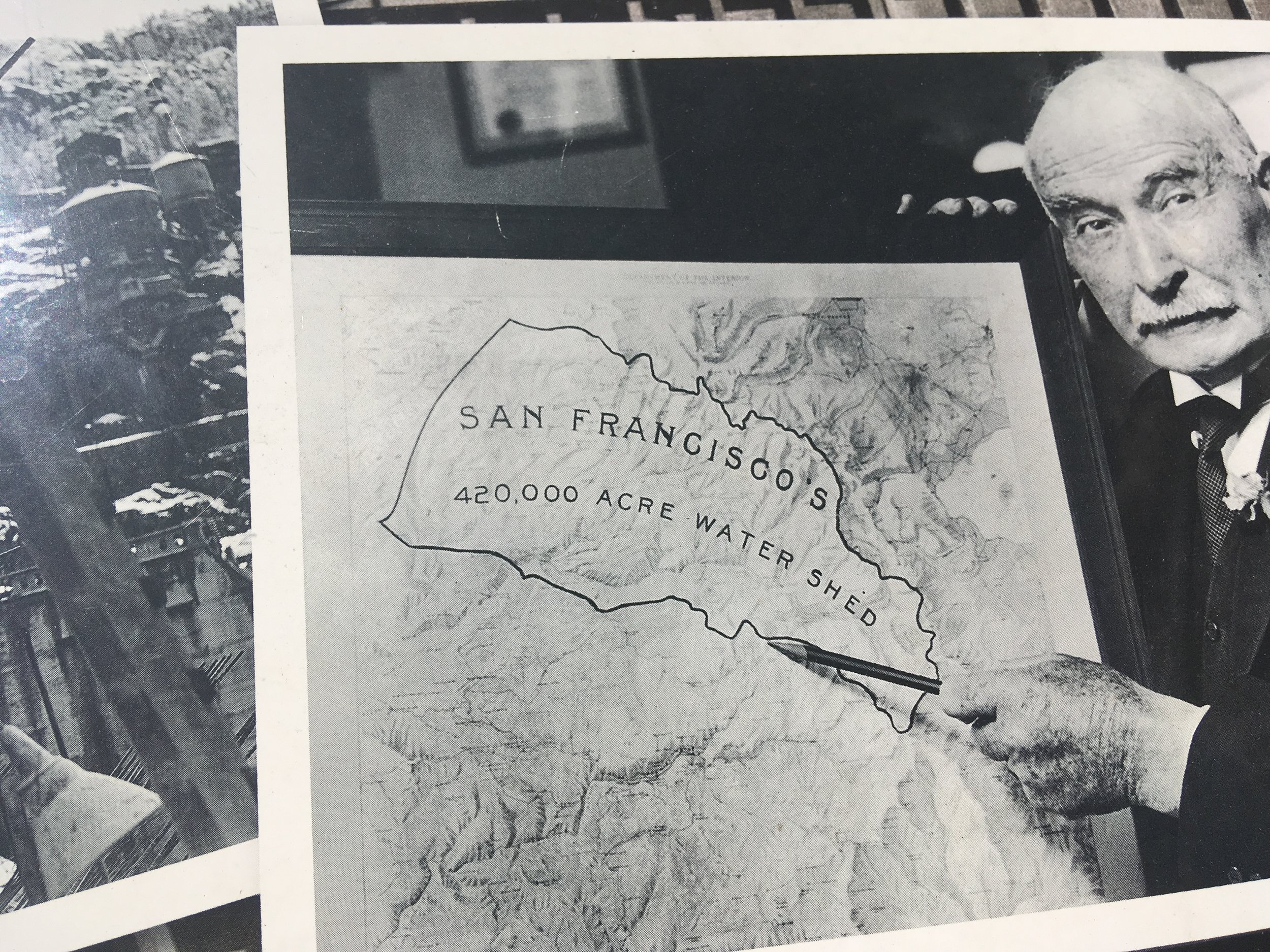 Michael M. O'Shaughnessy seen here pointing to Hetch Hetchy Valley, died 13 days before the first drinking waters first flowed to San Francisco.