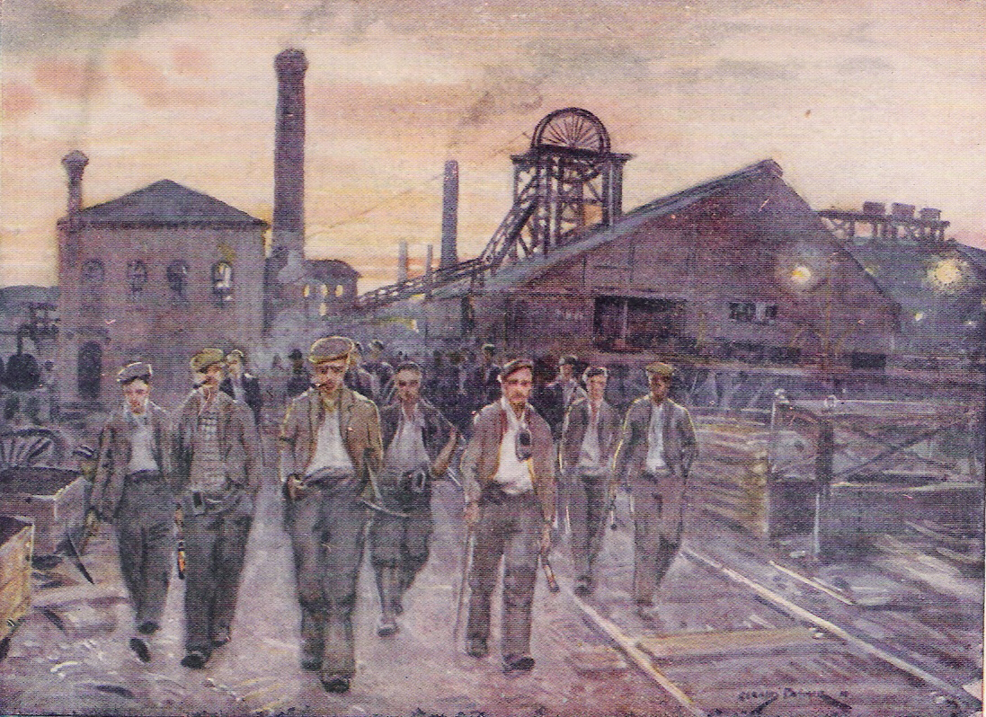 Beautiful oil painting of Miners leaving a Valleys colliery c.1890