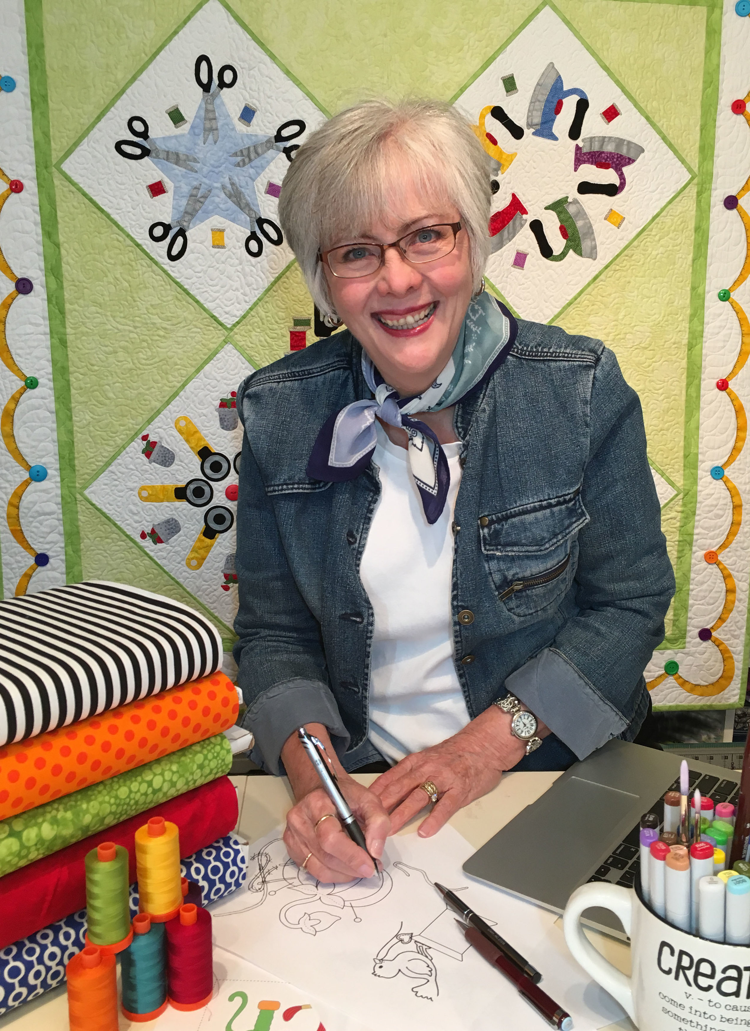 A Little About Me… - Sandy Fitzpatrick of Hissyfitz Designs is an applique quilt pattern designer whose goal is to get as many of the quirky designs, that are spinning around in her head, down on paper for you to enjoy! Her fusible applique patterns are full of whimsy and will certainly bring a smile to your face. Sandy strives to make her full-sized patterns easy to follow and fun to make. Her classes, which focus on machine applique, free-motion quilting, floor cloths, and art quilts, are equally fun!Having lived in many places as she and her husband moved around with the Air Force, Sandy currently lives in Cary, North Carolina. Her lectures and workshops are always an informative, fun experience.