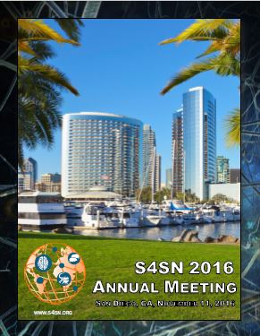 """S4SN 2016 Annual Meeting - The S4SN 2016 Annual Meeting was held in San Diego, CA, November 11, 2016. The meeting consisted of a Keynote address by Michael Platt, """"How We Connect: The Biology of Friendship"""", a Novel Approaches and Methodologies session with John O'Doherty on """"The social computational brain: how the brain learns from and makes inferences about others"""" and Kay Tye on """"A cortico-amygdala circuit encodes observational fear learning"""" and two poster session. (See: S4SN 2016 Annual Meeting Printed Program.)"""