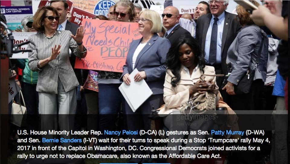 Sen. Nancy Pelosi, Patty Murray,Bernie Sanders & ola ojewumi  in front of Capitol Washington D.C urging not to replace Obama Care,A.K.A affordable care act