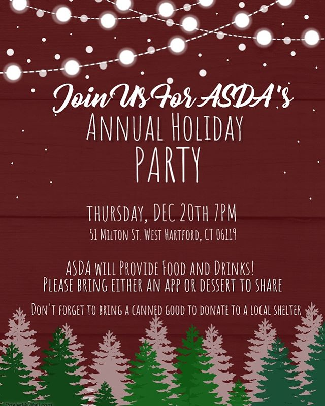 Don't miss the annual UConn ASDA Holiday party!