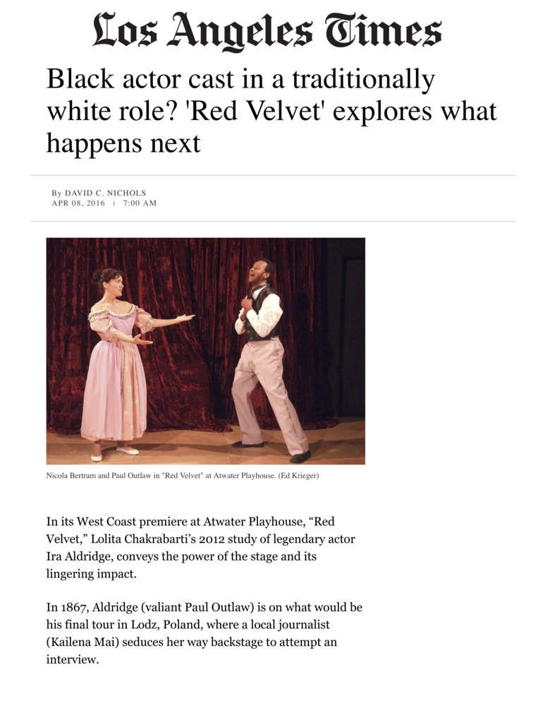 Review of the West Coast premiere of Lola Chakrabarti's  Red Velvet