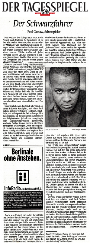 Article about Paul Outlaw and appearances in Berlin