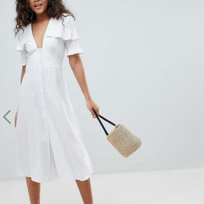 Asos White Linen Dress