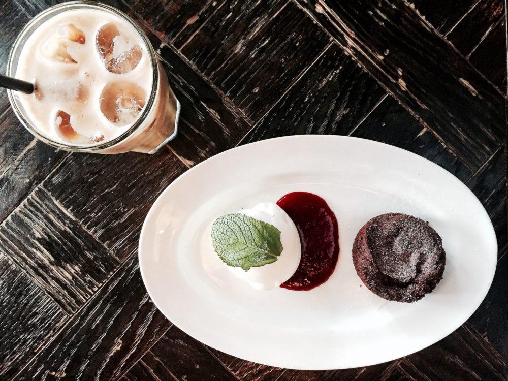 My chocolate Fondant & and Iced Coffee latte at  Olivia Tjuvholmen