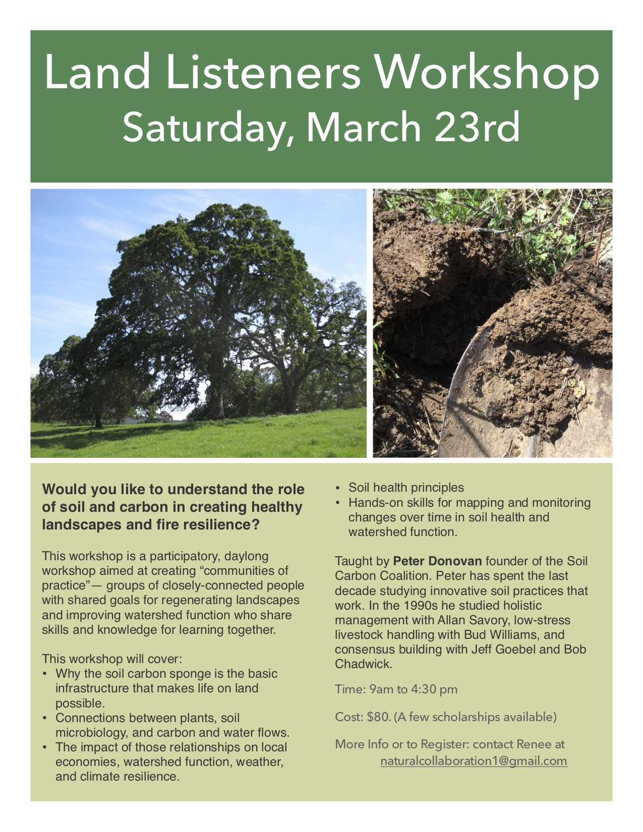 Workshop to be held at Laughing Oak Farm in Rough & Ready, address to be provided upon registration