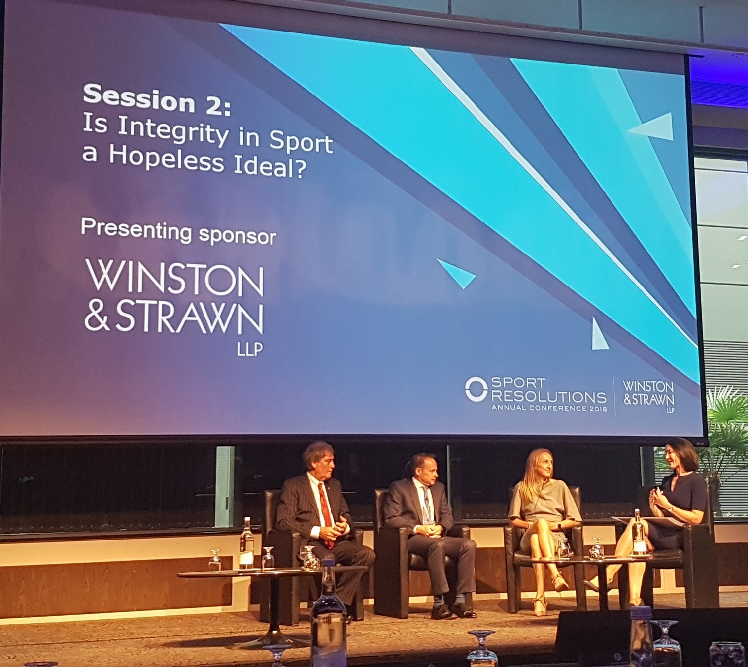 Chairing a panel at the Sport Resolutions Annual Conference. Guests incl Paula Radcliffe (r)