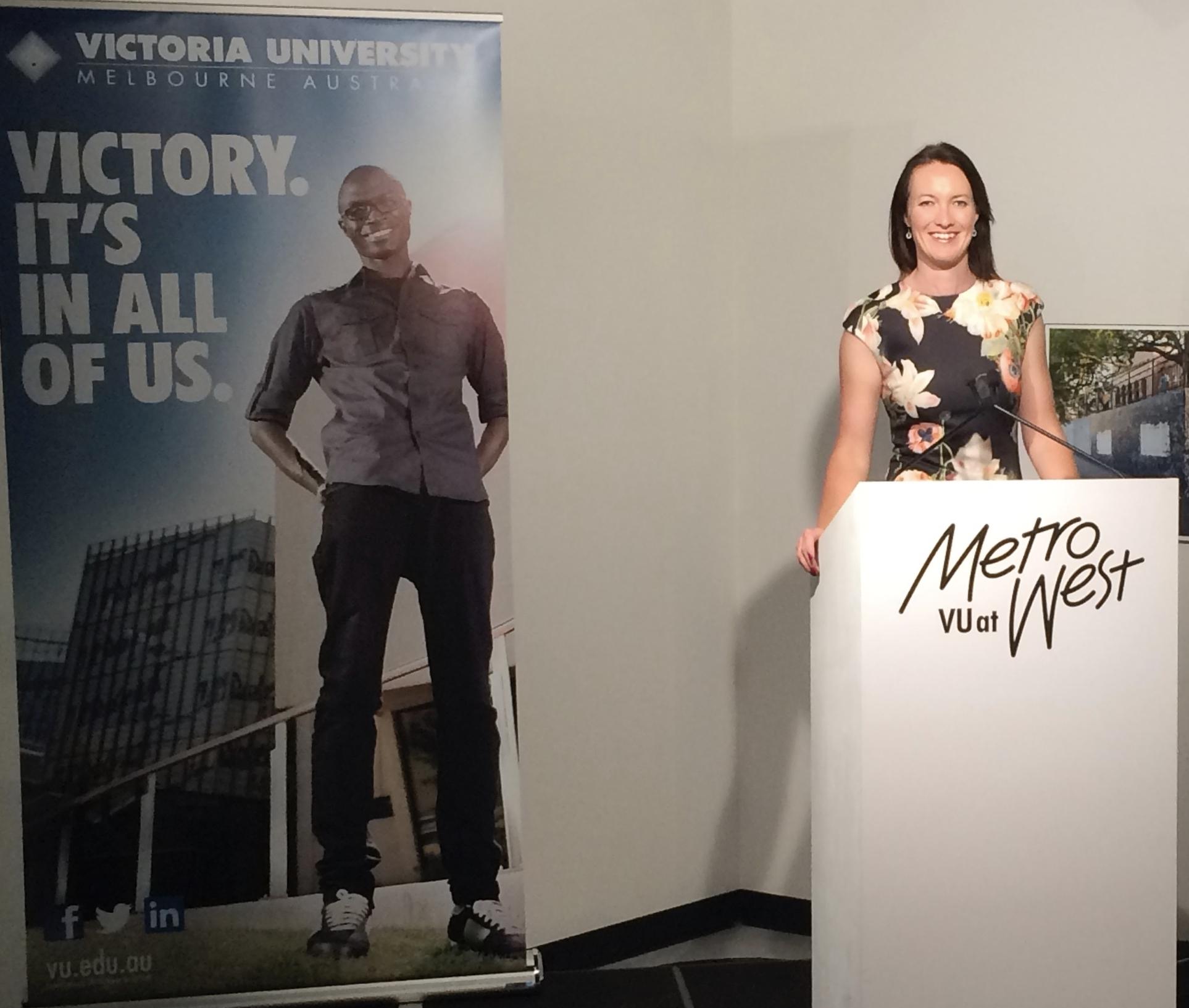 Delivering the inaugural Dean's Lecture at Victoria University, Australia