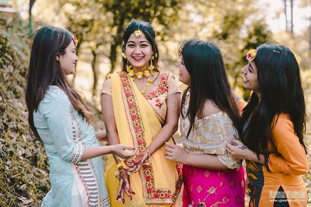 BrideTribe! The women of Awesomeness! Friends make your laugh a little louder, your smile a little brighter, and your life a little better. Our beautiful bride is enjoying her gala time with her Bridesmaids ⠀⠀⠀⠀⠀⠀⠀⠀⠀ Tanuja & Amiraj, Ranikhet ⠀⠀⠀⠀⠀⠀⠀⠀⠀ Shot by @ujjwalvanvari ⠀⠀⠀⠀⠀⠀⠀⠀⠀ For any inquery ☎️ +91-9811521277 📧 info@ujjwalvanvari.com 🌏 www.ujjwalvanvari.com ⠀⠀⠀⠀⠀⠀⠀⠀⠀ #ujjwalvanvari #daywedding #happybride #haldi #yellow #bridestribe #bridesmaids #mountainwedding #nikonteam #friendshipgoals #friends #delhiweddingphotographer #weddingphotographer