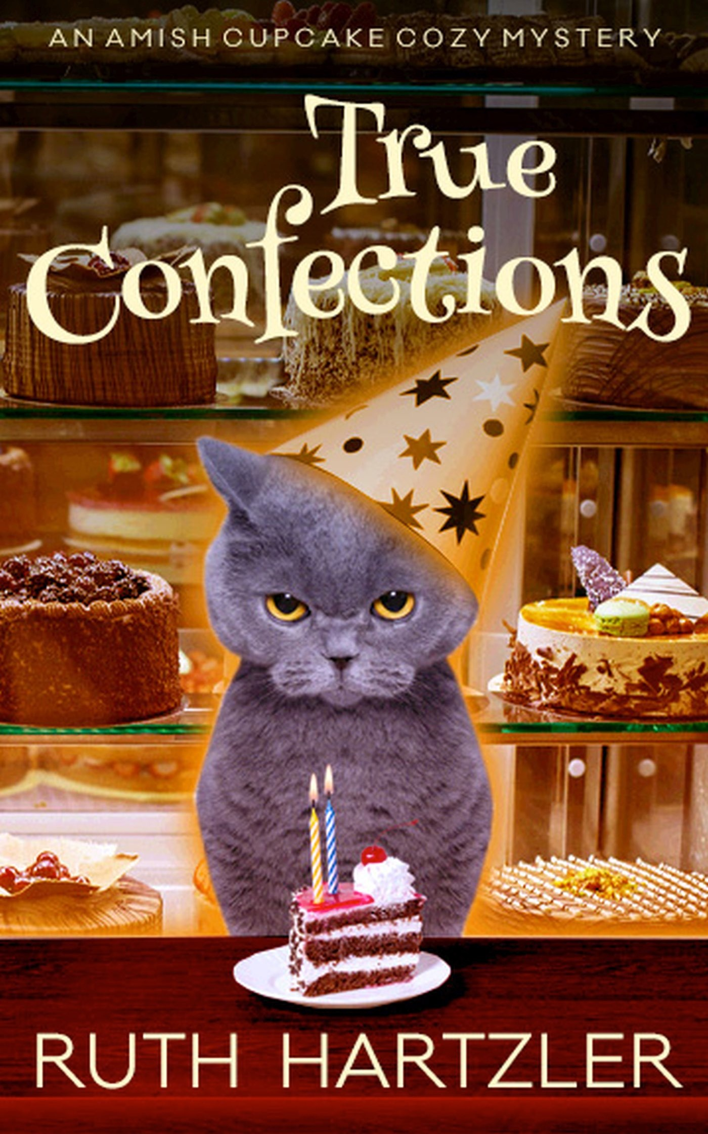 True Confections - An Amish Cupcake Cozy Mystery Book 1True Confections is Book 1 in the Amish Cupcake Cozy Mystery seriesWhen her husband of thirty years runs off with a college student named Cherri, Jane Delight returns to Pennsylvania to work in her Amish sister's cupcake store. Having lost everything in the divorce, Jane now finds herself sharing an apartment with two elderly ladies and their quirky cat. But there is no time to despair. A man is murdered in the cupcake store, and now Jane and her sister, Rebecca, are the prime suspects. Enter brooding detective Damon McCloud, a Scot with a tragic past and a desire for justice. Can Jane solve the murder, wrangle her new roommates, and stop herself from falling for the detective?Or will she never get her new life on track?KINDLE AND KINDLE UNLIMITED