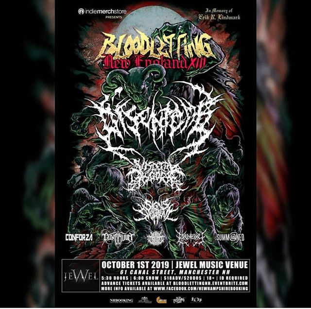 We are very hyped to be playing @bloodlettingtour this Tuesday (10.1) at Jewel in Manchester. This bill is crazy stacked so don't miss out. •  @disentomb_  @visceraldisgorge_official  @signsoftheswarm  @continuumbanddm  @organectomy  @mental_cruelty  @thesummoned •  #bloodletting #hyped #letsgo #manch #hornsup #stacked #comethru