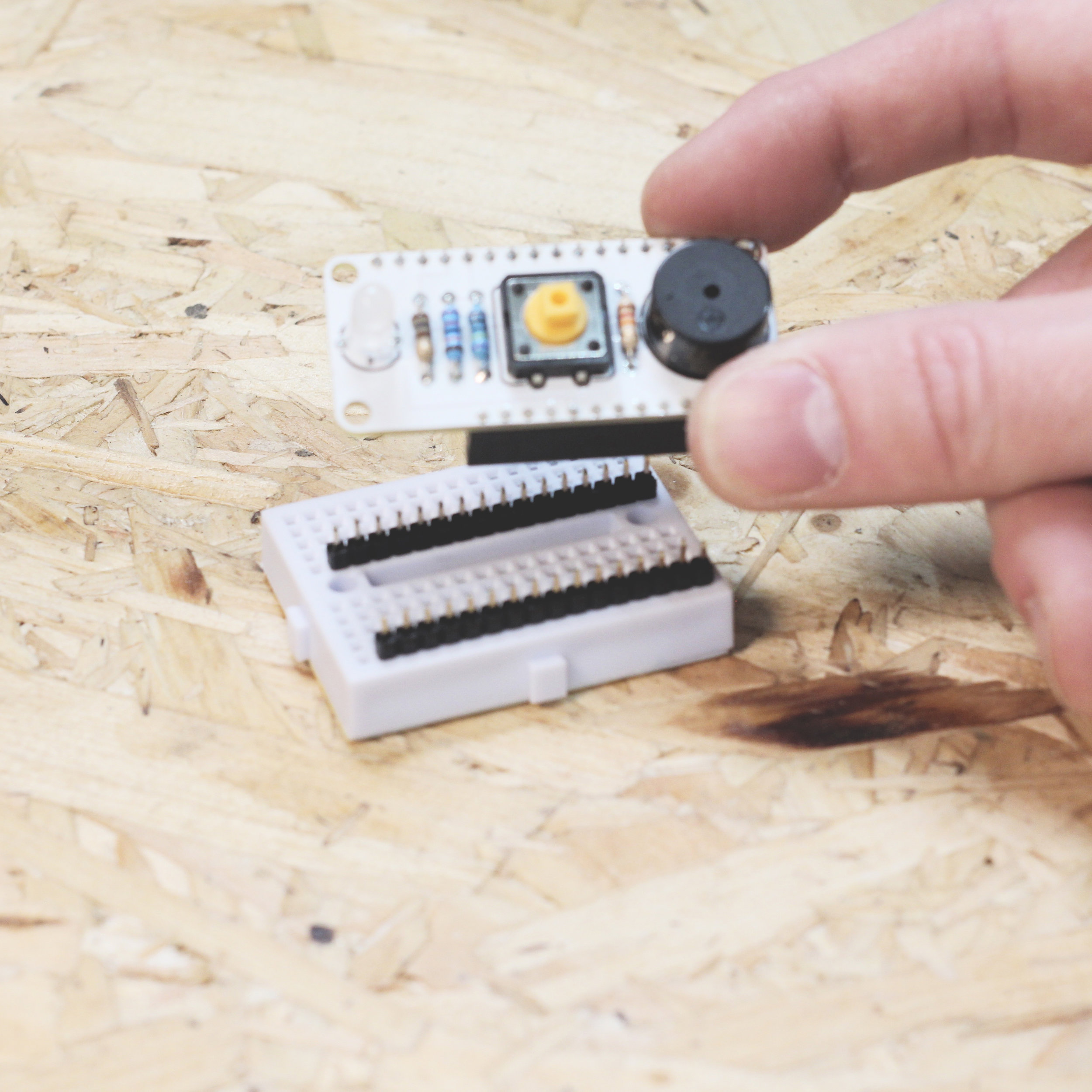 Remove Push-Thru button from the breadboard