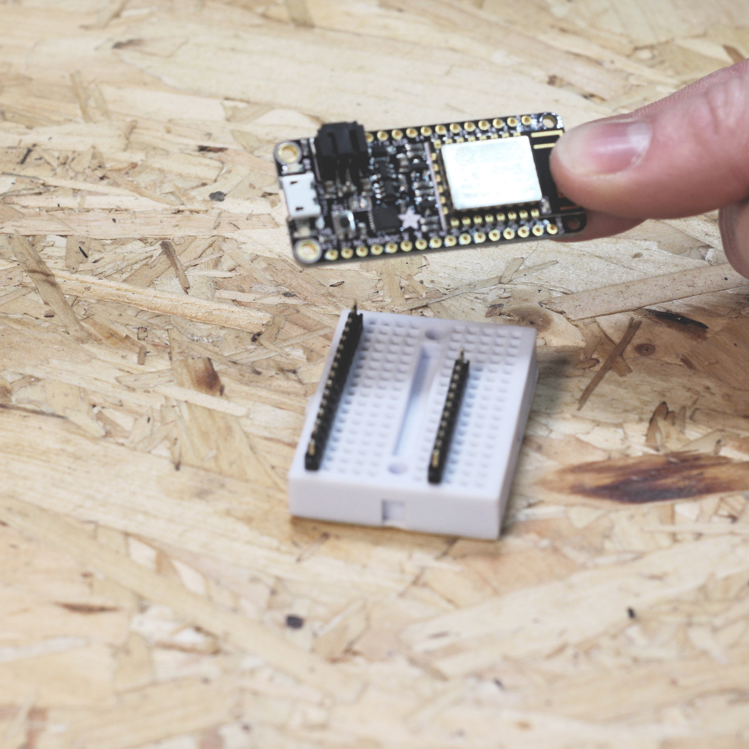 Place the Adafruit Huzzah ESP8266