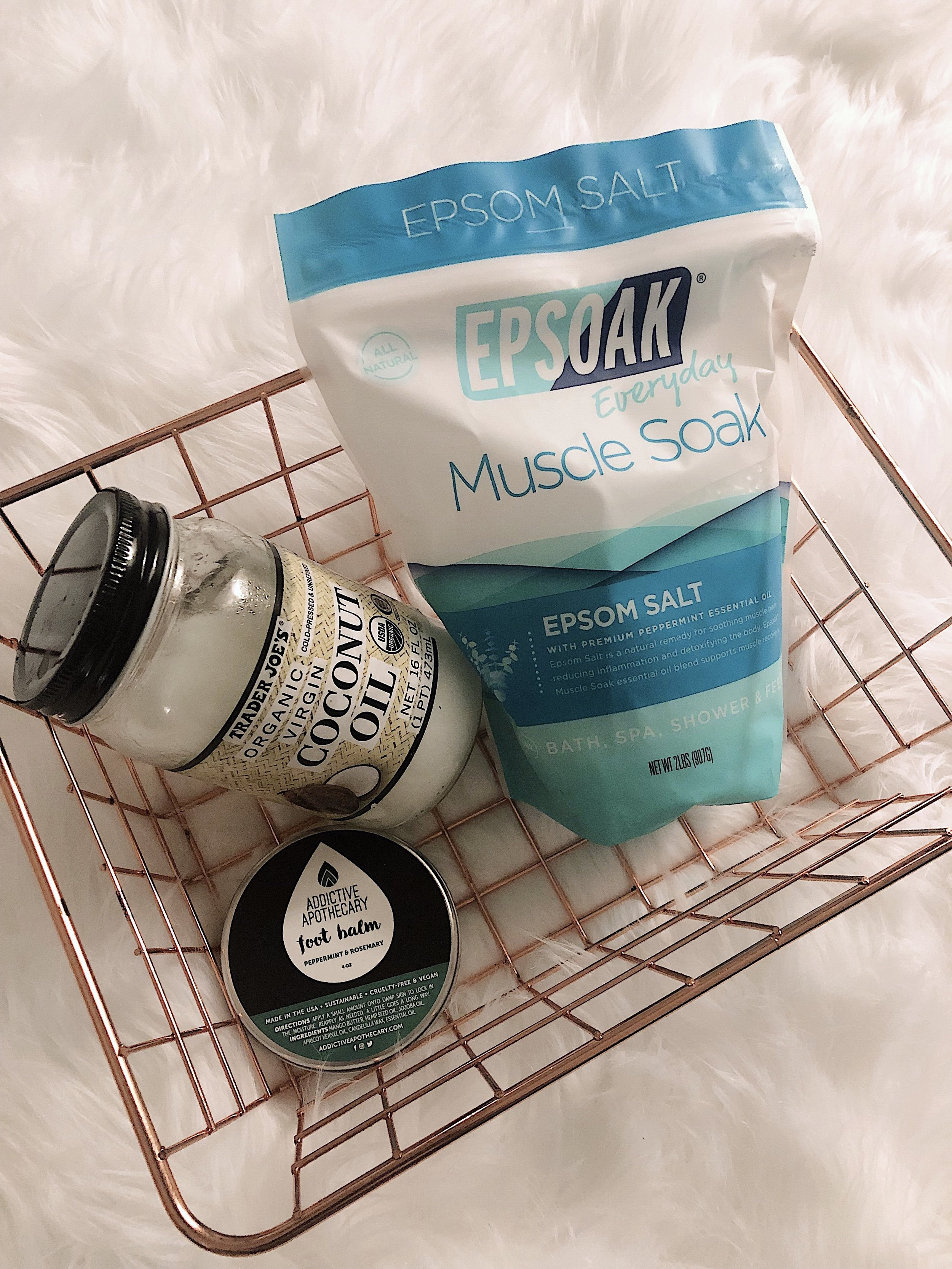 For a little extra pampering, I like to apply coconut oil to my body after I get out of the shower and a foot balm to nurture my feet.