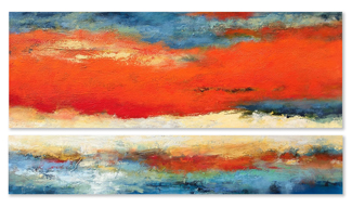 """Ascent of Orange  36"""" x 72"""" acrylic on canvas - diptych"""