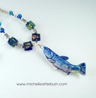 "Porcelain Fish Pendant on beaded chain - 20"" length"
