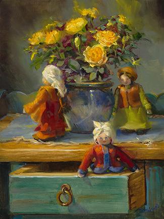 Hide and Seek Dolls    16x12 oil