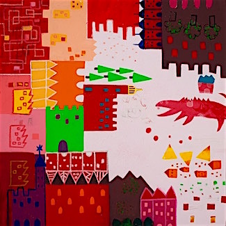 WASABI SALSA FAIRYLAND #2  Acrylic and Oil Pastel on Canvas 30X30