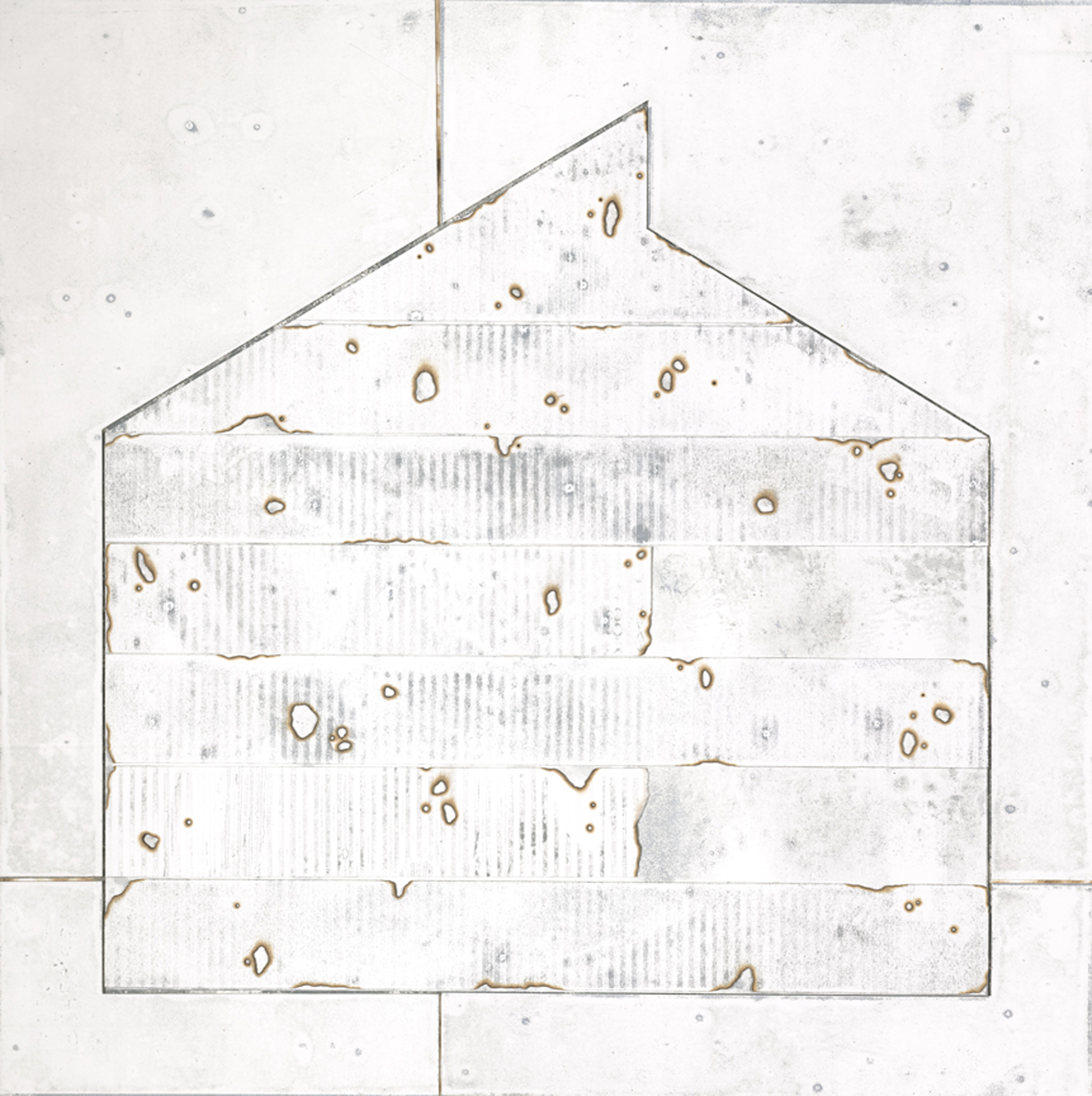 "Industrial Burn, Mixed Media  Layered Paper Monoprint, 24"" x 24"" x 2"""