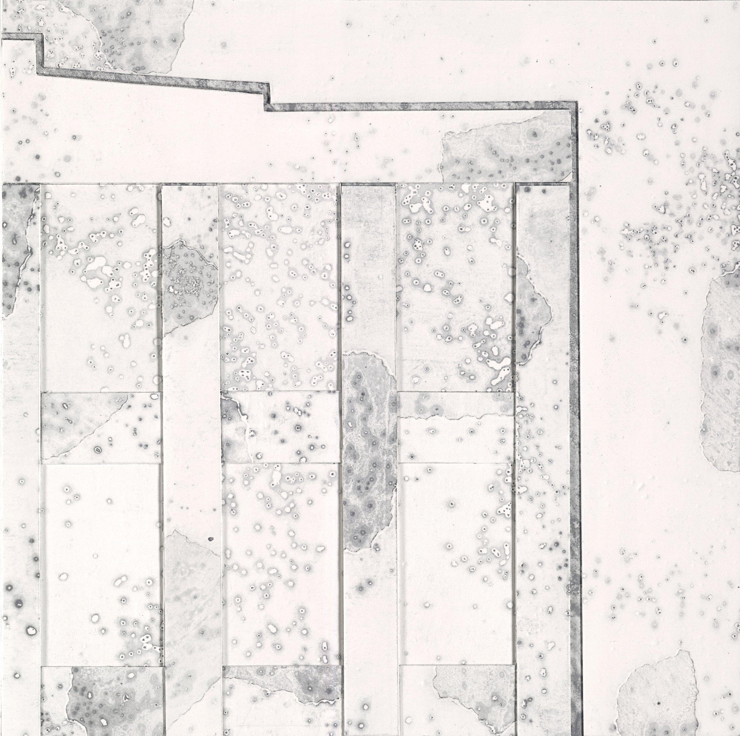 "Industrial Disintegration  Layered Paper Monoprint, 10"" x 10"" x 2"""