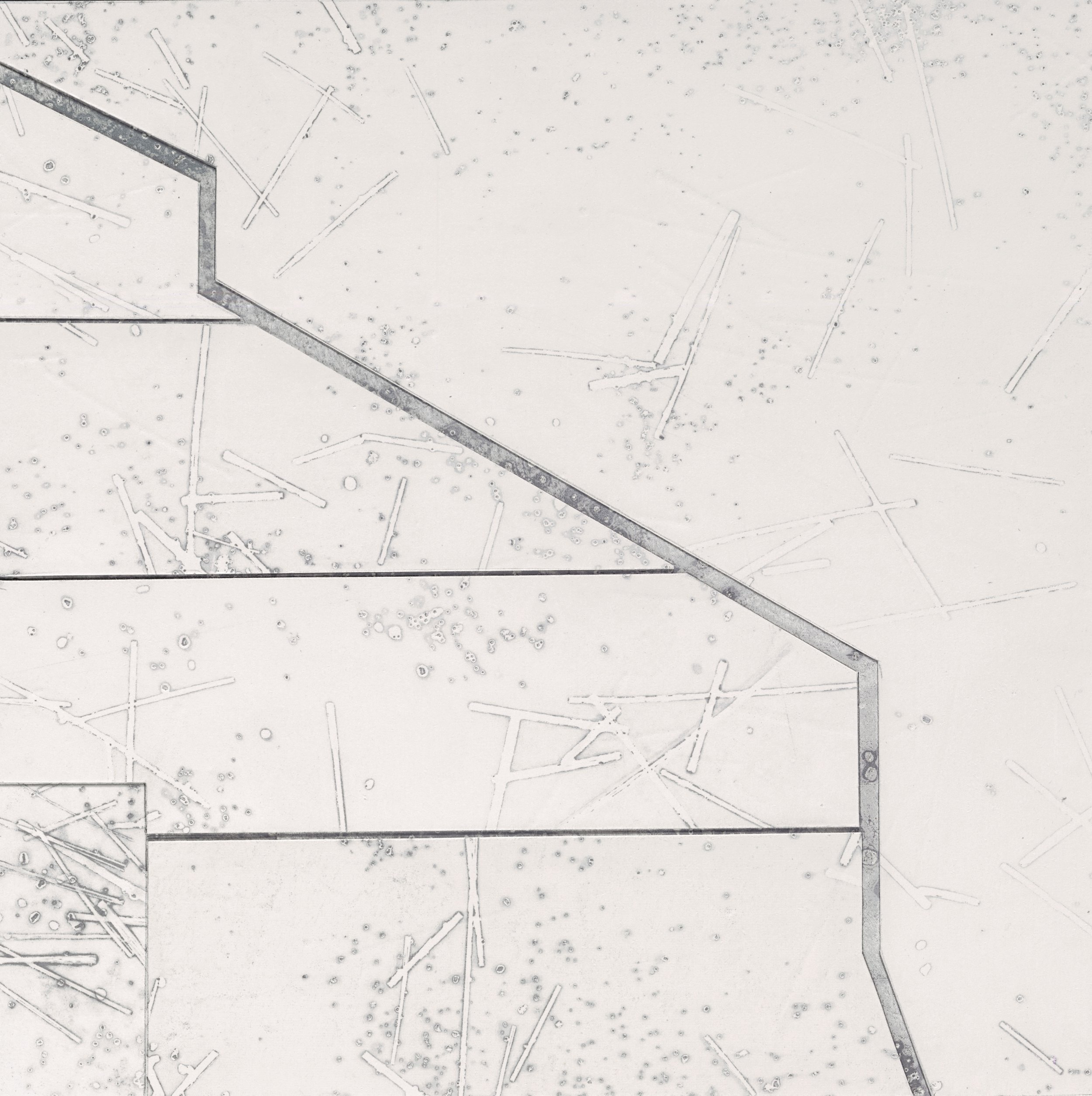 "Industrial Dispersion  Layered Paper Monoprint, 10"" x 10"" x 2"""