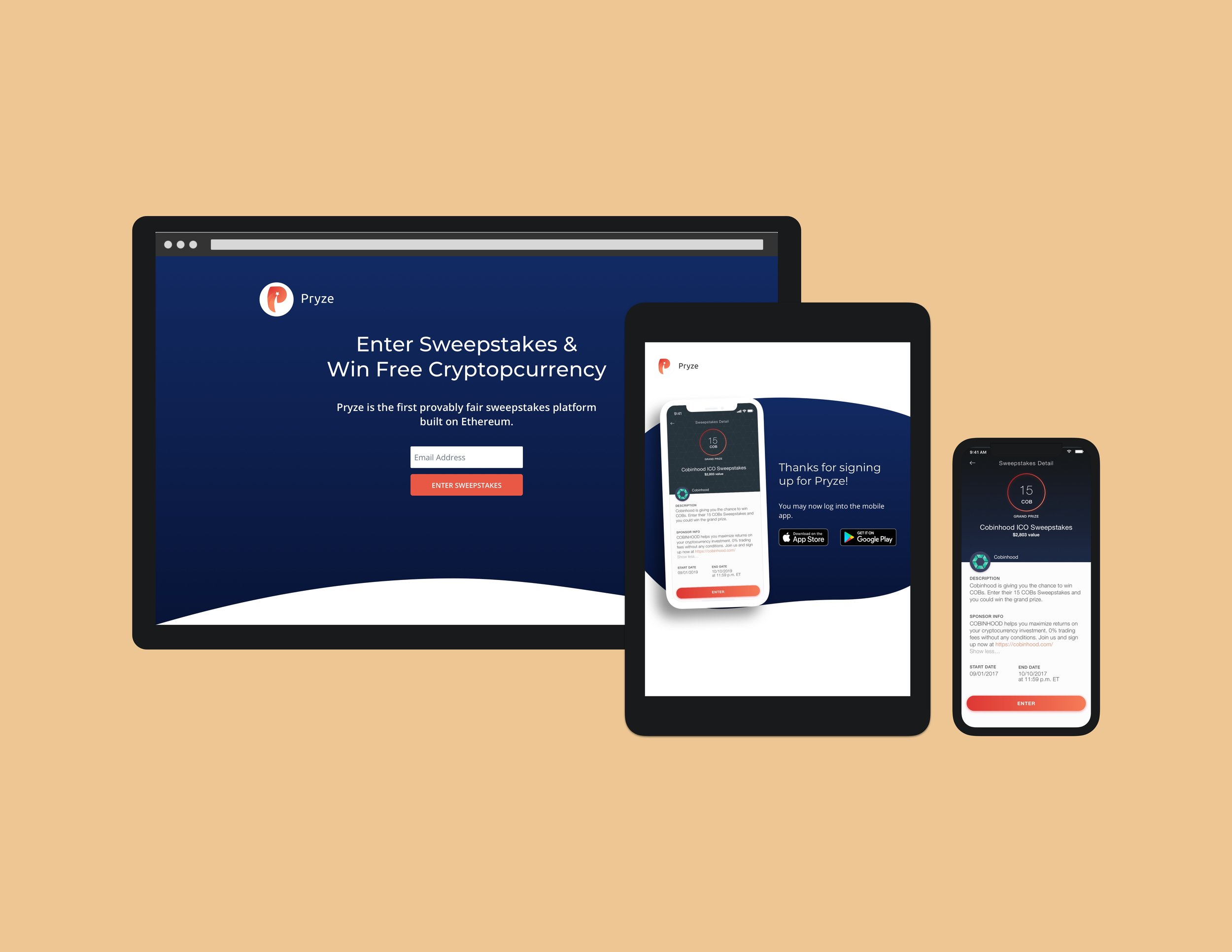 Pryze - Lead on Web, Collaborator on Mobile Appcryptocurrency sweepstakes app built on blockchain
