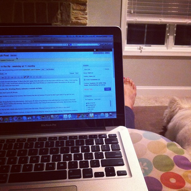 a day in the life of a working mom with an 11-month-old baby; blogging on a boppy @ohbotherblog