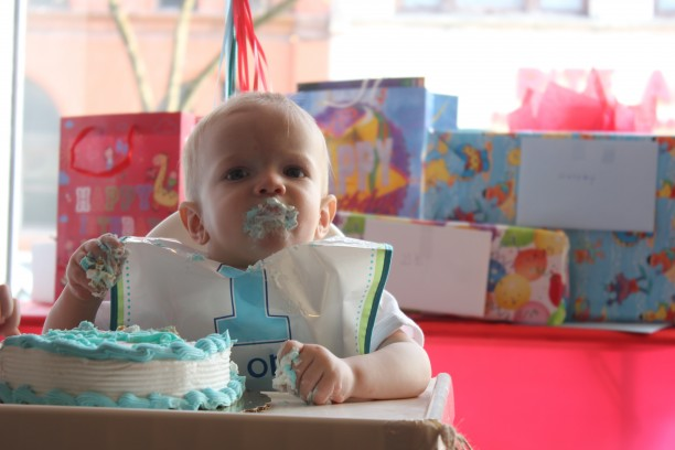 GB's red and aqua mustache and bowtie first birthday party @ohbotherblog