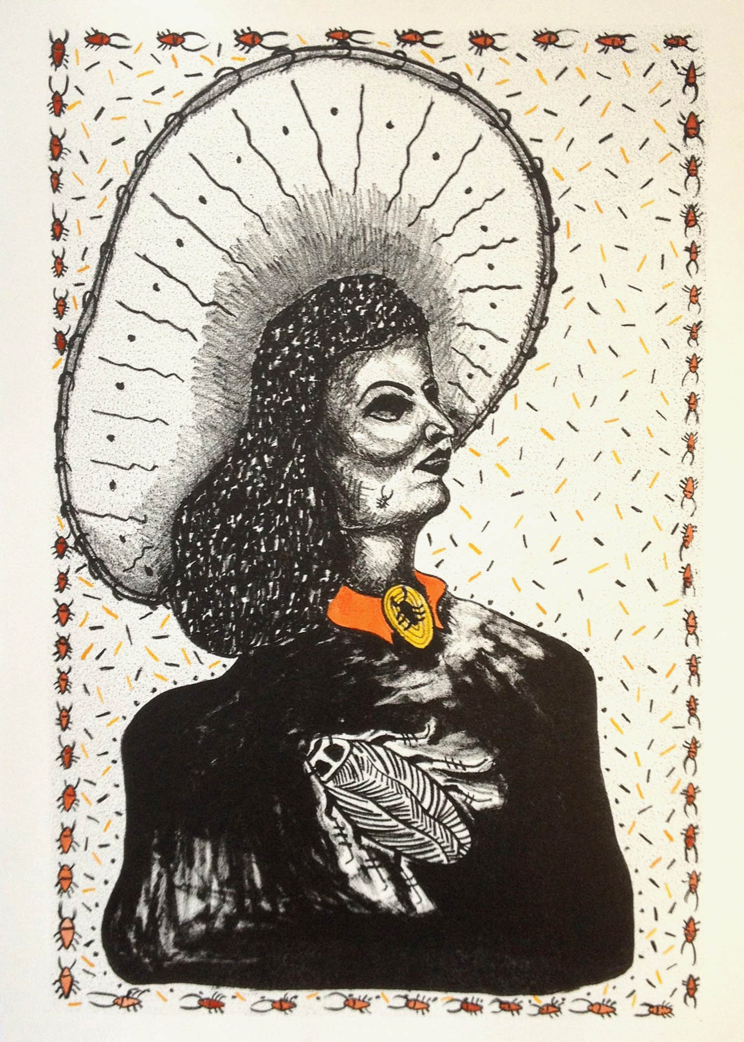 """TeXXXas Roach Queen    11"""" x 15""""  Hand-painted Lithograph of archival paper.  2017"""