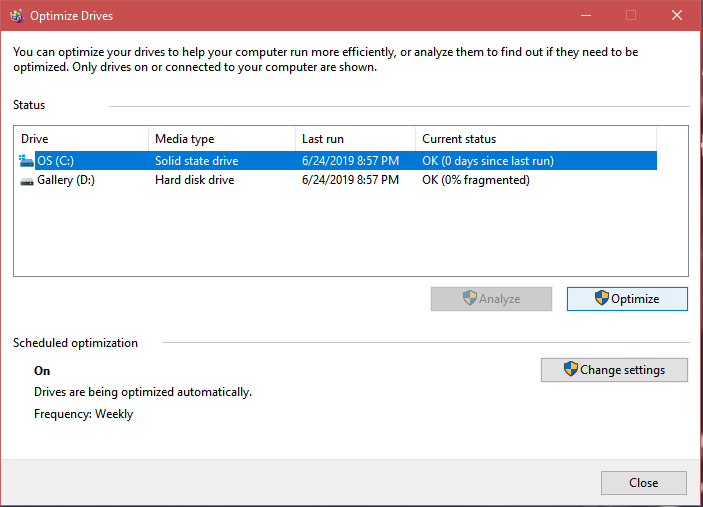 Step Three - 3. Left-click on Disk Defragment and Optimize Drives.