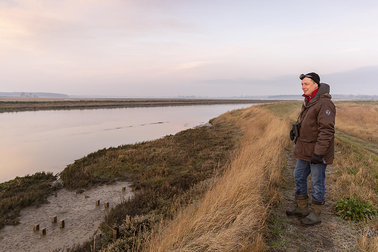 Writer Matt Gaw, desperately seeking otters at Hen Reedbeds, February 2019